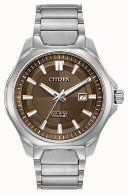 Citizen Mens Eco-Drive super titanium horloge bruine wijzerplaat AW1540-88X