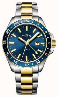Rotary Mens Havana GMT Twee Tone Blauw GB05082/05