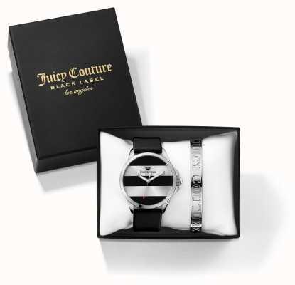 Juicy Couture Womans jetsetter zwarte zilveren armband en horloge cadeau set 1950011