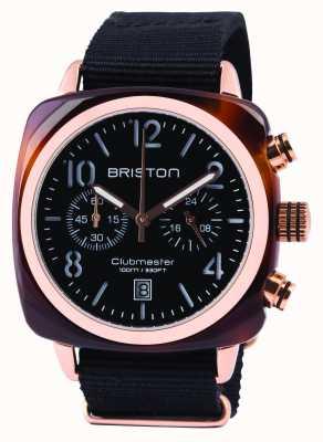 Briston Mens clubmaster klassieke acetaat chrono zwart 14140.PRA.T.1.NB