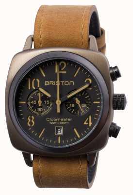 Briston Heren clubmaster klassiek staal chrono kaki 15140.SPK.C.5.LVBR