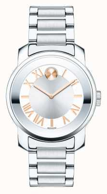 Movado Vet midsize luxe two tone zilveren roos goldk1 kristal 3600244