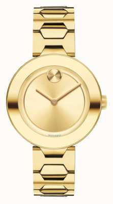 Movado Vet mid-size geel goud ion-plated k1 kristal 3600382