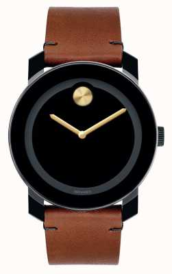 Movado Vet grote zwarte TR90 samengestelde zwarte wijzerplaat goud handen 3600305