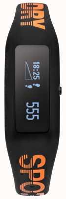 Superdry Unisex fitness tracker zwart oranje siliconen band SYG202BO