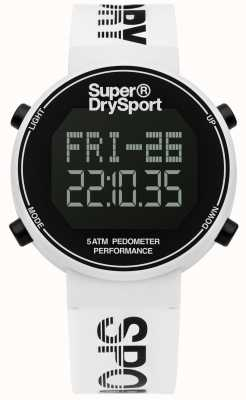 Superdry Unisex digi stappenteller wit siliconen band SYG203W