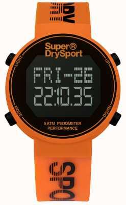 Superdry Unisex digi stappenteller oranje siliconen band SYG203O