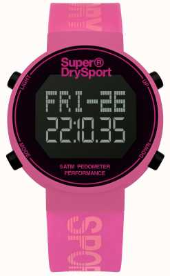 Superdry Unisex digi stappenteller roze siliconen band SYL203P
