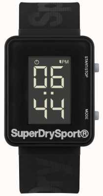 Superdry Unisex sportschool sprint digi zwarte siliconen band SYG204B