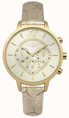Lipsy Womans gouden pu band champagne chrono LP505