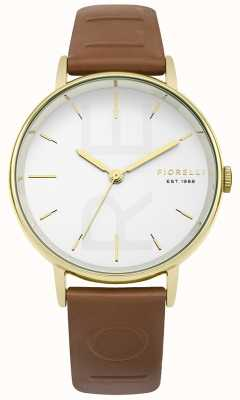 Fiorelli Womans tan reliëf band witte wijzerplaat FO036TG