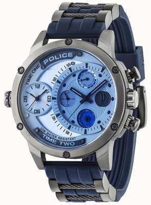 Police Mens adder multifunctionele date zilveren wijzerplaat rubberen band 14536JSU/04P