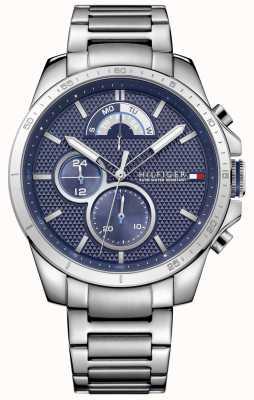 Tommy Hilfiger Decker | roestvrijstalen armband | blauwe wijzerplaat 1791348