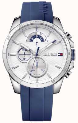 Tommy Hilfiger Mens blauwe rubberen witte chronograaf 1791349