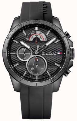 Tommy Hilfiger Mens Black rubber zwarte chronograaf 1791352