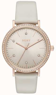 DKNY Womans Minetta rose goud grijs leer NY2609