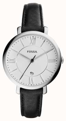 Fossil Womans jacqueline zilveren wijzerplaat zwart lederen ES3972