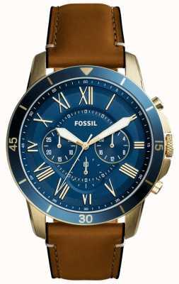 Fossil Mens subsidie bruin lederen band blauw chronograaf FS5268