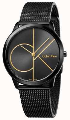 Calvin Klein Mannen minimale zwarte roestvrijstalen mesh K3M214X1