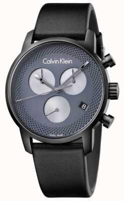 Calvin Klein Mens stad zwart lederen grijze chrono K2G177C3