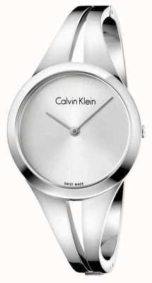 Calvin Klein Womans verslaafde roestvrij staal zilveren armband K7W2S116