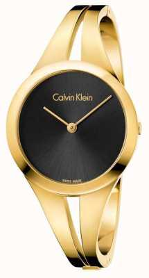 Calvin Klein Womans verslaafde gouden getinte armband zwarte wijzerplaat K7W2M511
