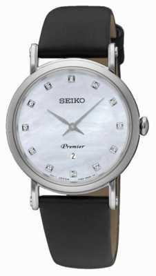 Seiko Womans dame roestvrij staal datum zwart lederen band SXB433P2