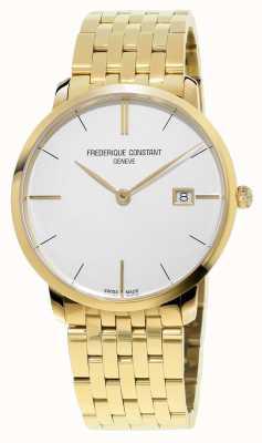 Frederique Constant Heren slim line goud pvd verguld witte wijzerplaat FC-220V5S5B