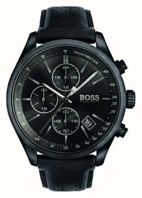 Hugo Boss Mens grand prix chronograaf zwart lederen band zwarte wijzerplaat 1513474