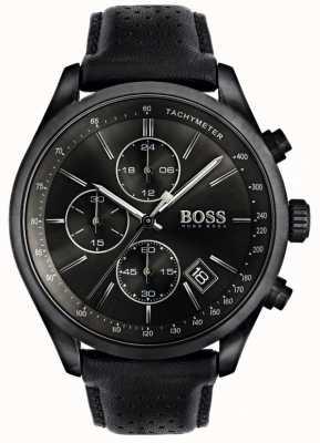 Boss Mens Grand Prix chronograaf zwarte leren band zwarte wijzerplaat 1513474