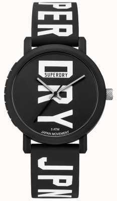 Superdry Mens campus fluro block siliconen horloge zwart SYG196BBW