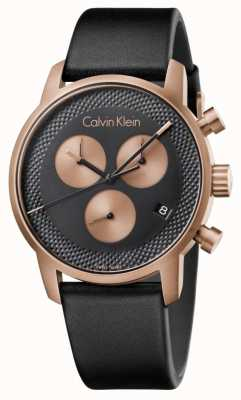 Calvin Klein Heren stad chronograaf blauwe wijzerplaat zwart ex-display K2G17TC1 Ex-Display