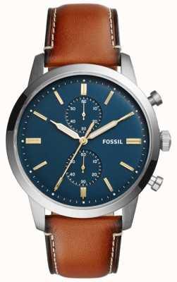 Fossil Heren townsman chronograaf bruin leer FS5279