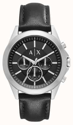 Armani Exchange Herenleer zwarte chronograaf AX2604