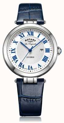 Rotary Womens luzerne blauw lederen band witte wijzerplaat LS90197/01L