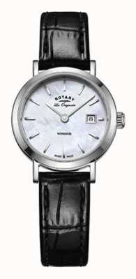 Rotary Womens windsor zwart lederen band parelmoer dial LS90153/41