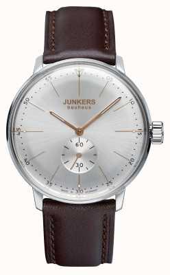 Junkers Mens bauhaus opwindhorloges lederen band zilveren wijzerplaat 6032-5