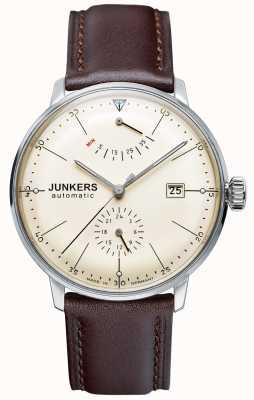 Junkers Mens bauhaus automatische bruin lederen band beige wijzerplaat 6060-5
