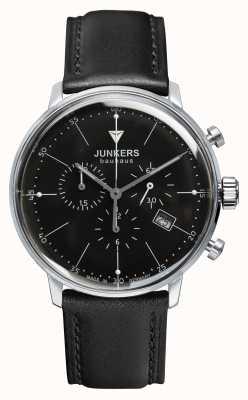Junkers Mens bauhaus chronograaf zwart lederen band zwarte wijzerplaat 6088-2