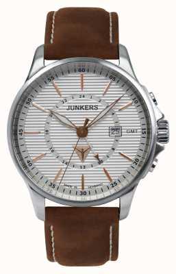 Junkers Mens tante ju bruin lederen band zilveren wijzerplaat 6842-4