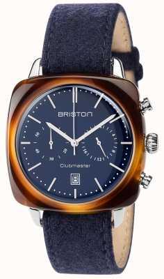 Briston Mens clubmaster vintage blauwe stoffen band blauwe wijzerplaat 17140.SA.TV.15.LFNB