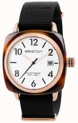 Briston Mens clubmaster klassieke zwarte stofbandje witte wijzerplaat 17240.PRA.T.2.NB
