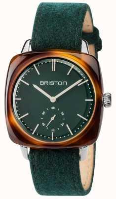 Briston Mens clubmaster vintage groene stof band groen wijzerplaat 17440.SA.TV.16.LFBG