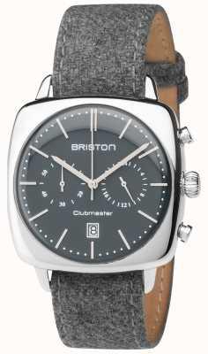 Briston Mens clubmaster vintage grijze stof band grijze wijzerplaat 17140.PS.V.17.LFG