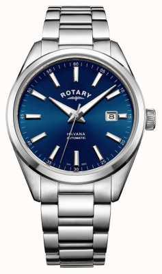 Rotary Mens havana roestvrij staal blauw GB05077/05