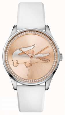 Lacoste De witte siliconenband van Womans roos gouden stalen set dial 2000969