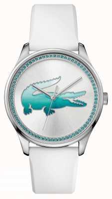 Lacoste Womans wit rubber blauw kristal horloge 2000971