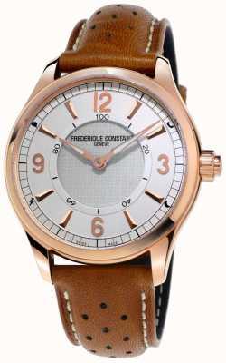 Frederique Constant Mens horologische smartwatch bluetooth bruine lederen riem FC-282AS5B4