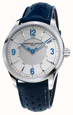 Frederique Constant Mens horologische smartwatch bluetooth blauwe leren band FC-282AS5B6
