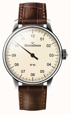 MeisterSinger Mens no 01 mechanisch bruine lederen band crème wijzerplaat AM3303